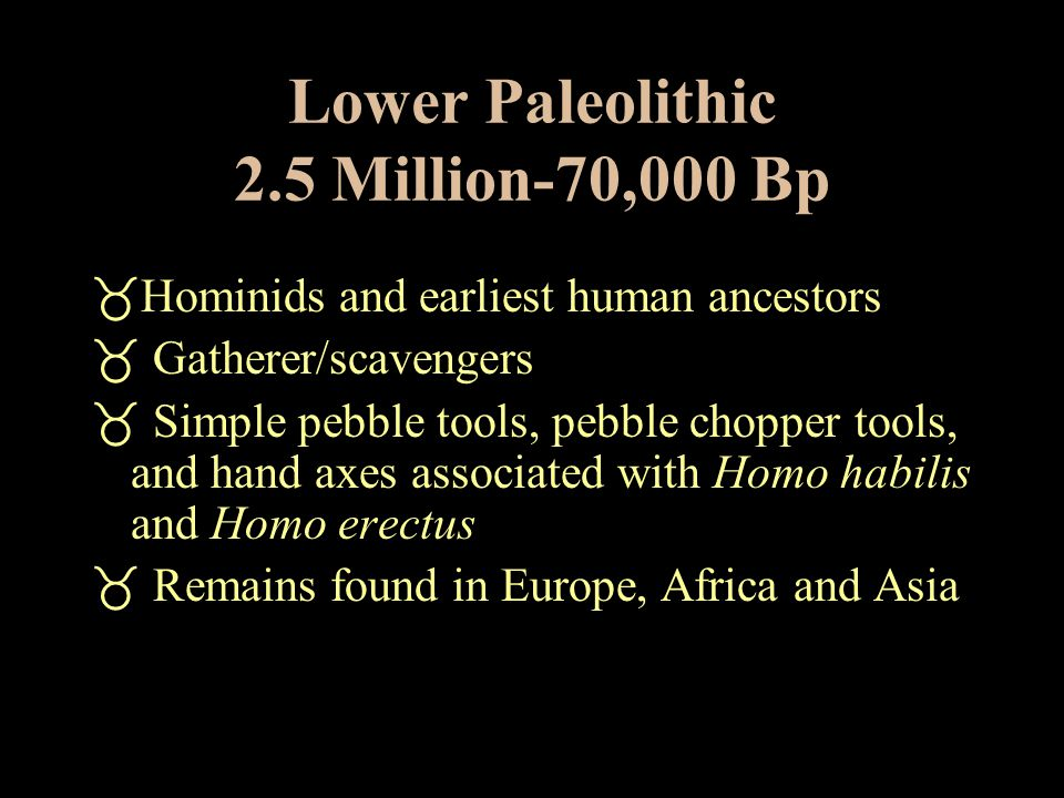 Paleolithic Period Began 2 1/2 Million Years Ago  Also called Old Stone Age culture  Characterized by the use of rudimentary chipped stone tools  H