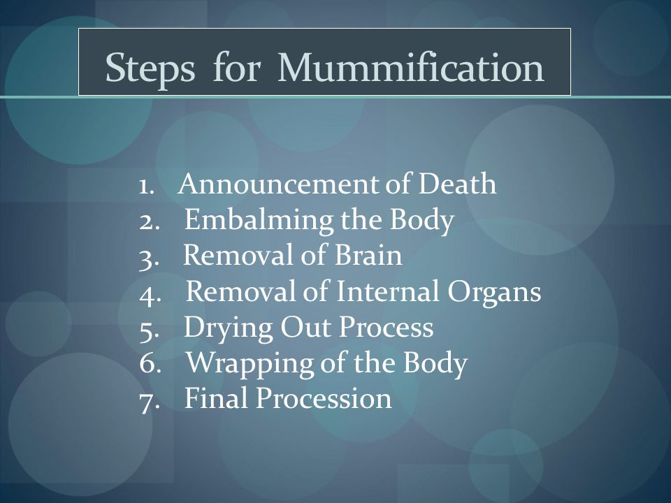Steps for Mummification 1. Announcement of Death 2. Embalming the Body 3. Removal of Brain 4. Removal of Internal Organs 5. Drying Out Process 6. Wrap