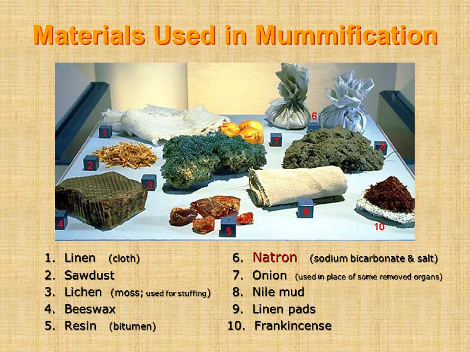 Materials Used in Mummification 1. Linen (cloth) 6. Natron (sodium bicarbonate & salt) 2. Sawdust7. Onion (used in place of some removed organs) 3. Li