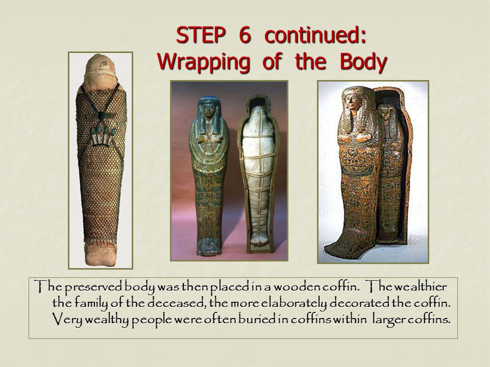 STEP 6 continued: Wrapping of the Body The preserved body was then placed in a wooden coffin. The wealthier the family of the deceased, the more elabo