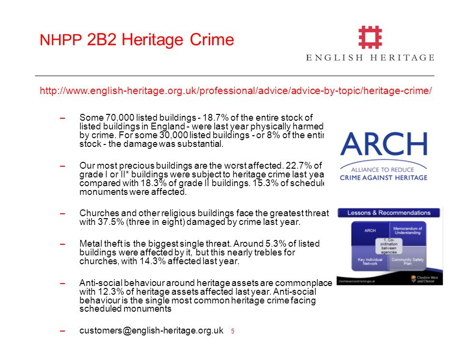 5 NHPP 2B2 Heritage Crime –Some 70,000 listed buildings - 18.7% of the entire stock of listed buildings in England - were last year physically harmed