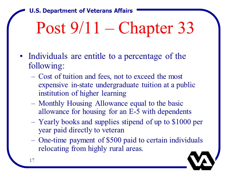 U.S. Department of Veterans Affairs 17 Post 9/11 – Chapter 33 Individuals are entitle to a percentage of the following: –Cost of tuition and fees, not