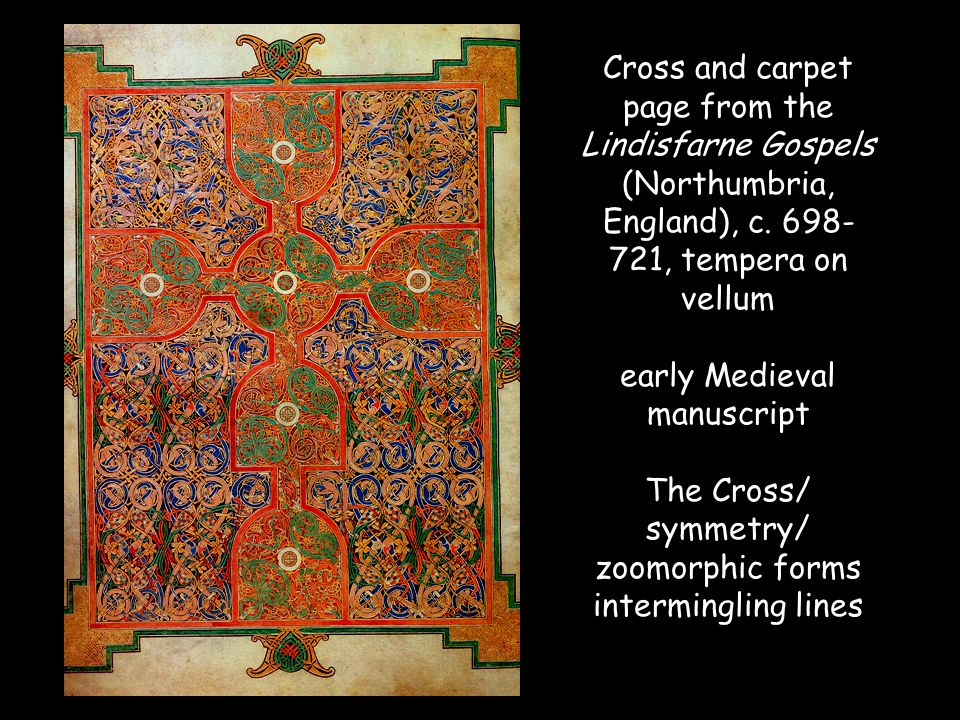 Cross and carpet page from the Lindisfarne Gospels (Northumbria, England), c.