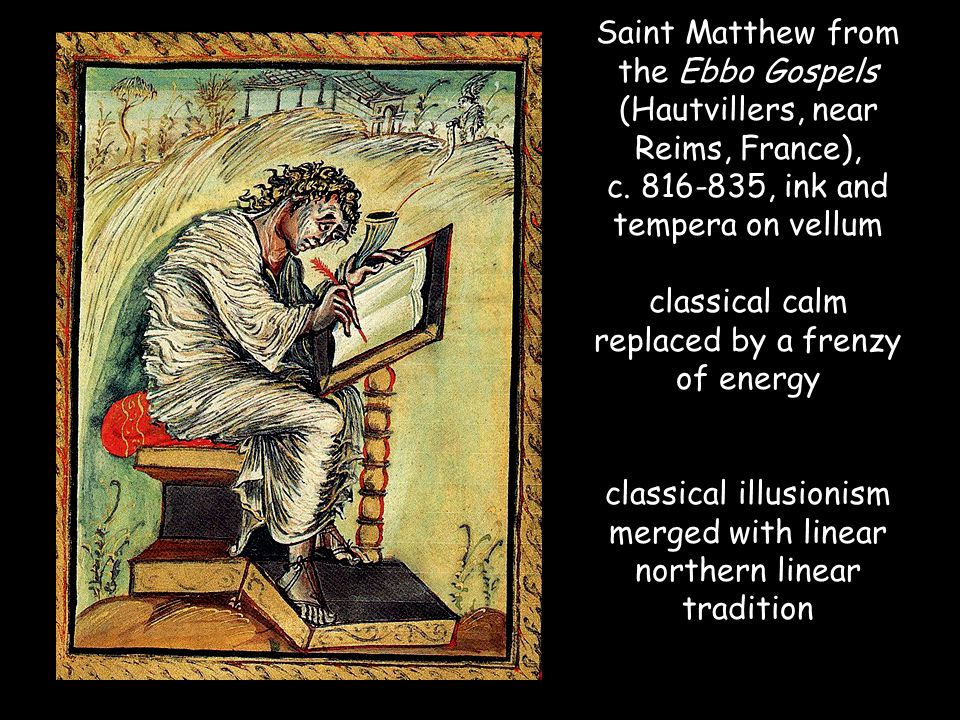 Saint Matthew from the Ebbo Gospels (Hautvillers, near Reims, France), c.