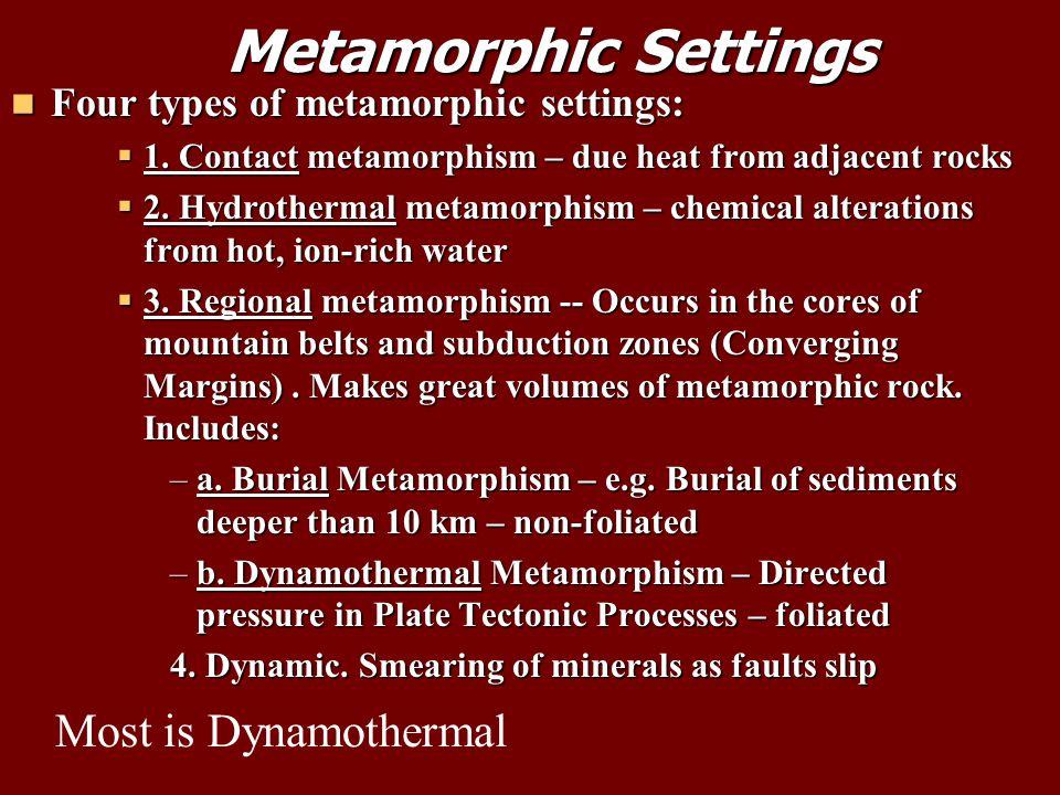 Metamorphic Settings Metamorphic Settings Four types of metamorphic settings: Four types of metamorphic settings:  1.