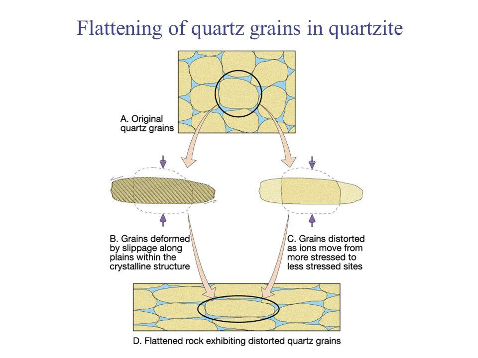 Flattening of quartz grains in quartzite