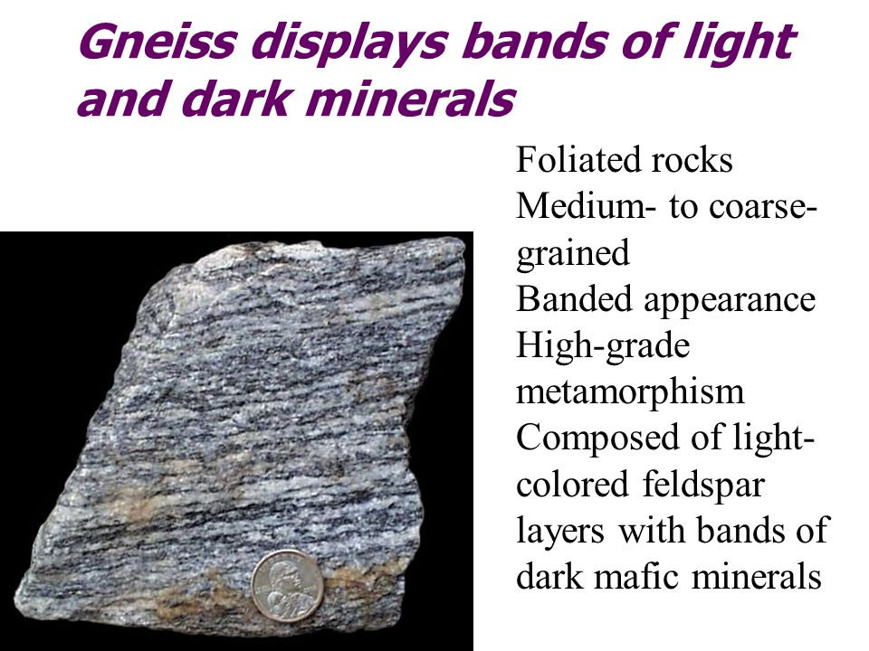 Gneiss displays bands of light and dark minerals Foliated rocks Medium- to coarse- grained Banded appearance High-grade metamorphism Composed of light