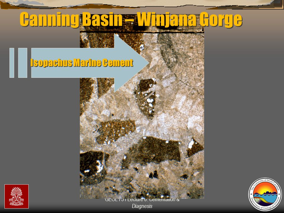 GEOL 751 Lecture 6: Cementation & Diagnesis Isopachus Marine Cement Canning Basin – Winjana Gorge