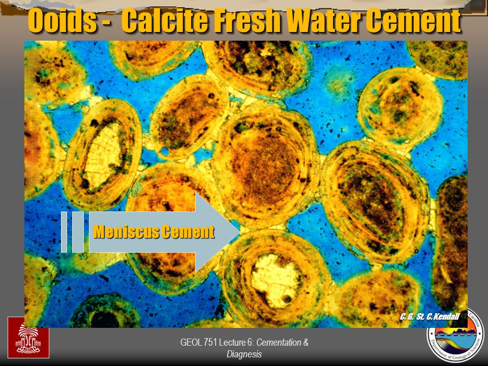 GEOL 751 Lecture 6: Cementation & Diagnesis Meniscus Cement Ooids - Calcite Fresh Water Cement C. G. St. C. Kendall