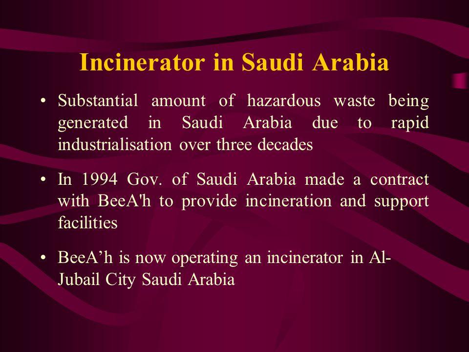 Incinerator in Saudi Arabia Substantial amount of hazardous waste being generated in Saudi Arabia due to rapid industrialisation over three decades In