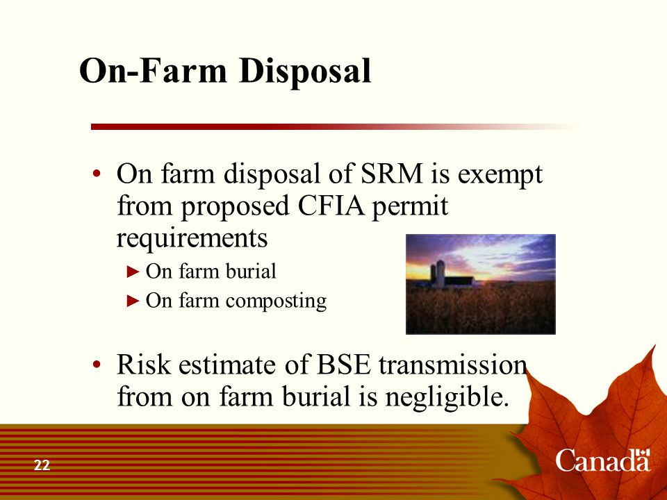 22 On-Farm Disposal On farm disposal of SRM is exempt from proposed CFIA permit requirements ► On farm burial ► On farm composting Risk estimate of BS
