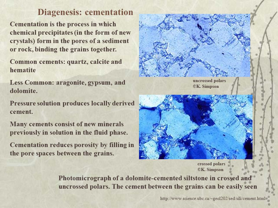 Photomicrograph of a dolomite-cemented siltstone in crossed and uncrossed polars. The cement between the grains can be easily seen Cementation is the