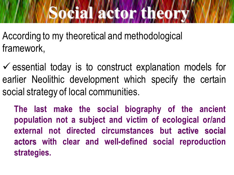 From those theoretical and methodological perspectives we can define Neolithization: Under Neolithization we understand a process of establishment of early complex sedentary and semi-sedentary societies, in particular in the Balkans.Neolithization Infrastructure Social structureSuperstructure Complexity