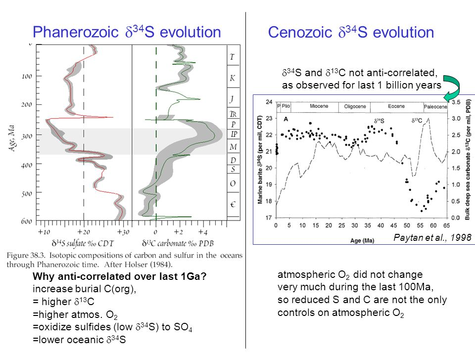 Phanerozoic  34 S evolution  34 S and  13 C not anti-correlated, as observed for last 1 billion years Cenozoic  34 S evolution atmospheric O 2 did not change very much during the last 100Ma, so reduced S and C are not the only controls on atmospheric O 2 Why anti-correlated over last 1Ga.