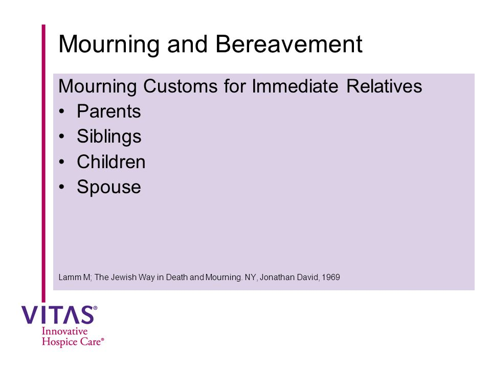 Mourning and Bereavement Mourning Customs for Immediate Relatives Parents Siblings Children Spouse Lamm M; The Jewish Way in Death and Mourning. NY, J
