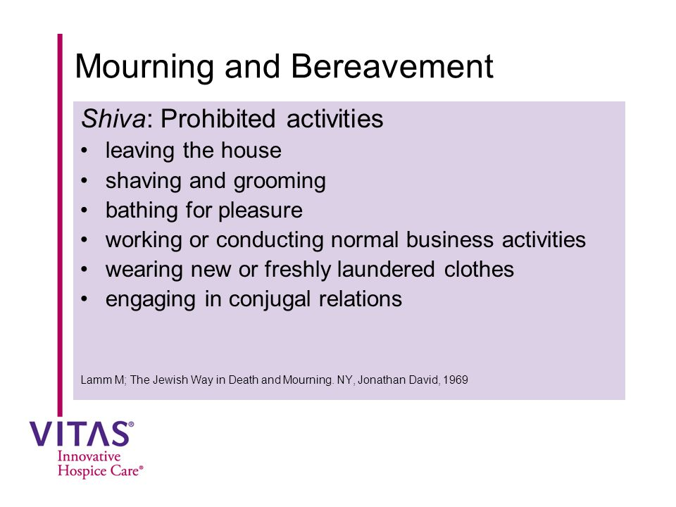 Mourning and Bereavement Shiva: Prohibited activities leaving the house shaving and grooming bathing for pleasure working or conducting normal busines
