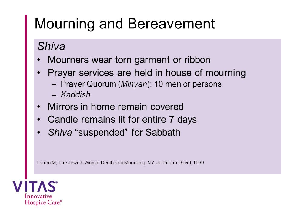 Mourning and Bereavement Shiva Mourners wear torn garment or ribbon Prayer services are held in house of mourning –Prayer Quorum (Minyan): 10 men or p