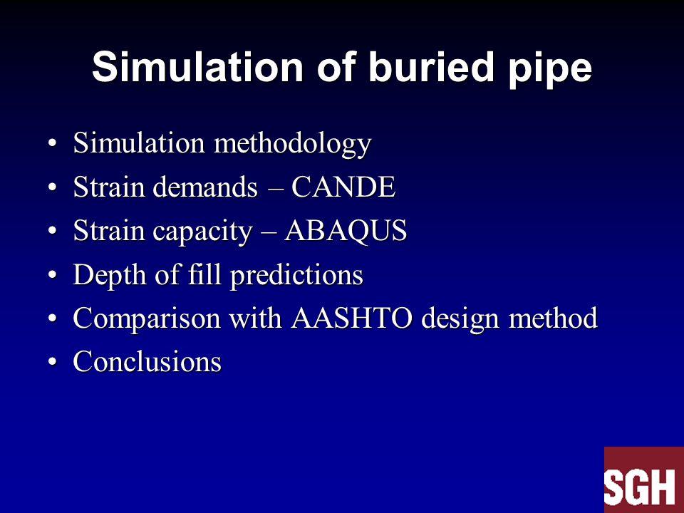 Simulation of buried pipe Simulation methodologySimulation methodology Strain demands – CANDEStrain demands – CANDE Strain capacity – ABAQUSStrain cap