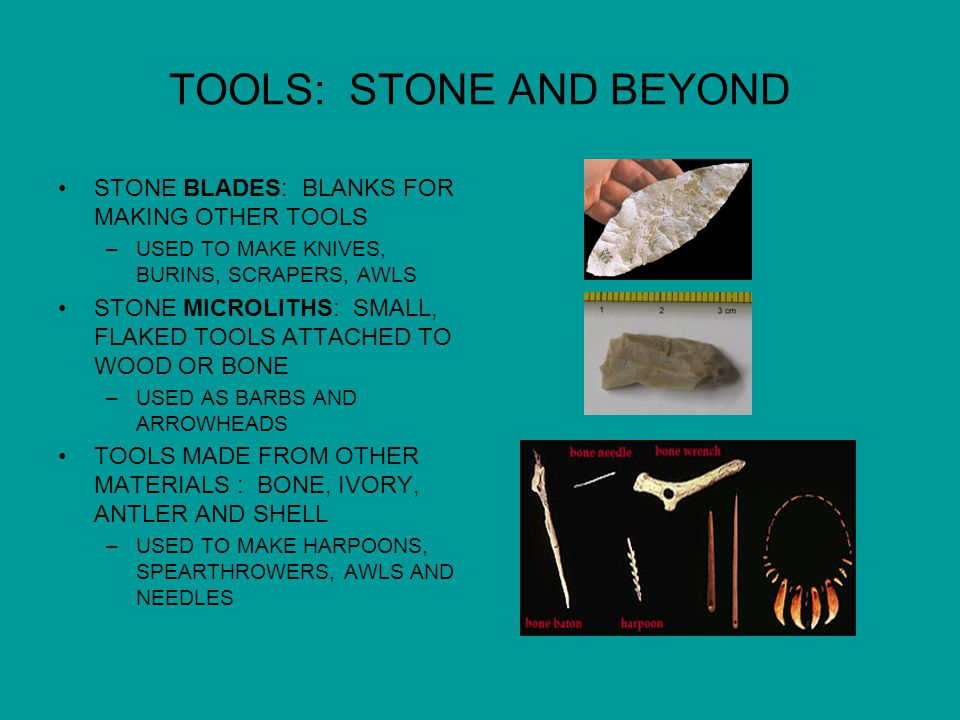 TOOLS: STONE AND BEYOND STONE BLADES: BLANKS FOR MAKING OTHER TOOLS –USED TO MAKE KNIVES, BURINS, SCRAPERS, AWLS STONE MICROLITHS: SMALL, FLAKED TOOLS ATTACHED TO WOOD OR BONE –USED AS BARBS AND ARROWHEADS TOOLS MADE FROM OTHER MATERIALS : BONE, IVORY, ANTLER AND SHELL –USED TO MAKE HARPOONS, SPEARTHROWERS, AWLS AND NEEDLES