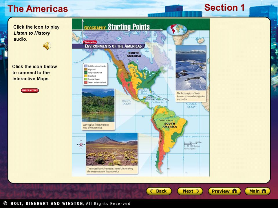 The Americas Section 1 Click the icon to play Listen to History audio.