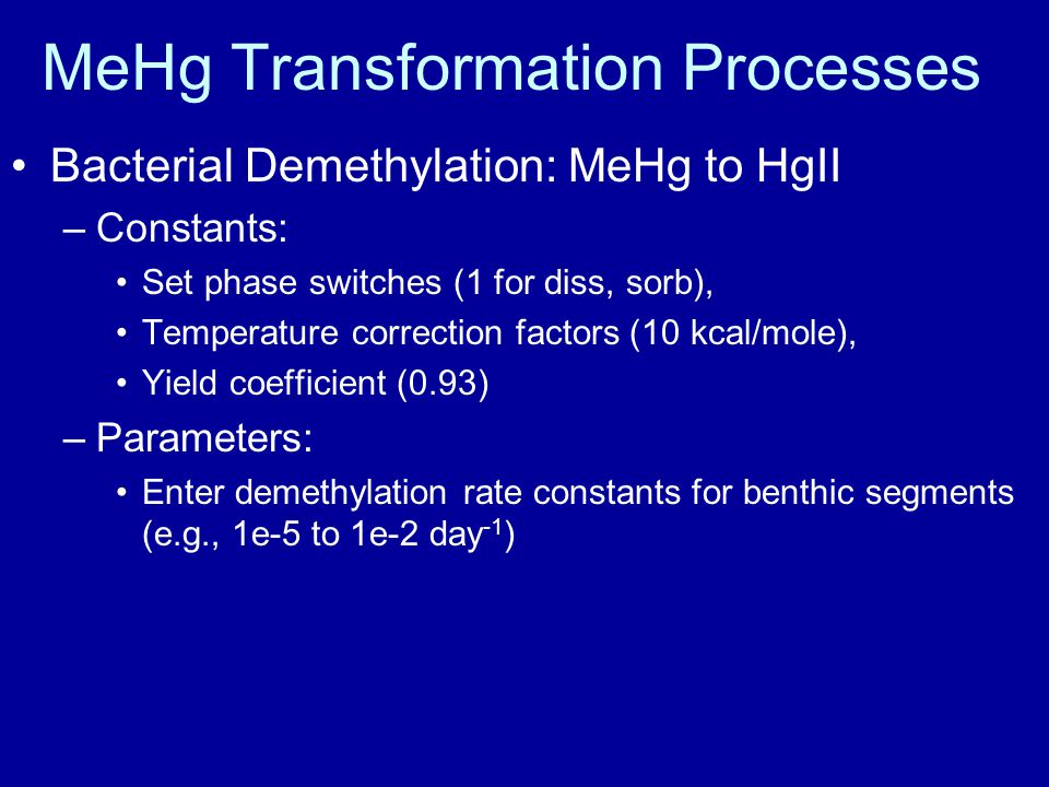 MeHg Transformation Processes Bacterial Demethylation: MeHg to HgII –Constants: Set phase switches (1 for diss, sorb), Temperature correction factors (10 kcal/mole), Yield coefficient (0.93) –Parameters: Enter demethylation rate constants for benthic segments (e.g., 1e-5 to 1e-2 day -1 )