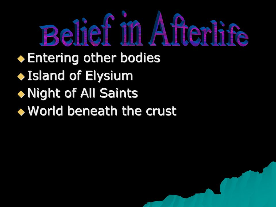  Entering other bodies  Island of Elysium  Night of All Saints  World beneath the crust