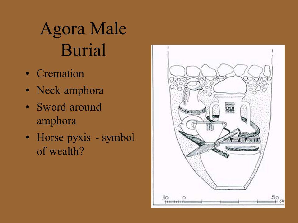 Agora Male Burial Cremation Neck amphora Sword around amphora Horse pyxis - symbol of wealth?
