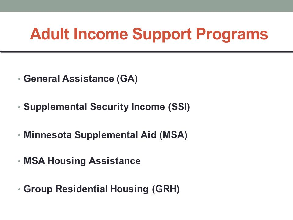 Adult Income Support Programs General Assistance (GA) Supplemental Security Income (SSI) Minnesota Supplemental Aid (MSA) MSA Housing Assistance Group Residential Housing (GRH)