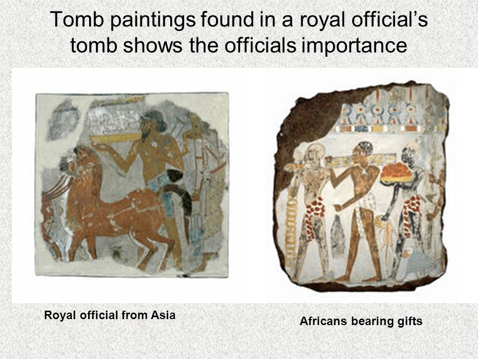 Tomb paintings found in a royal official's tomb shows the officials importance Royal official from Asia Africans bearing gifts