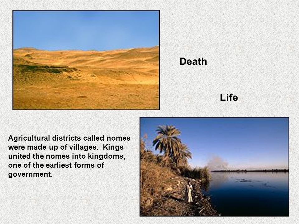 Death Life Agricultural districts called nomes were made up of villages.