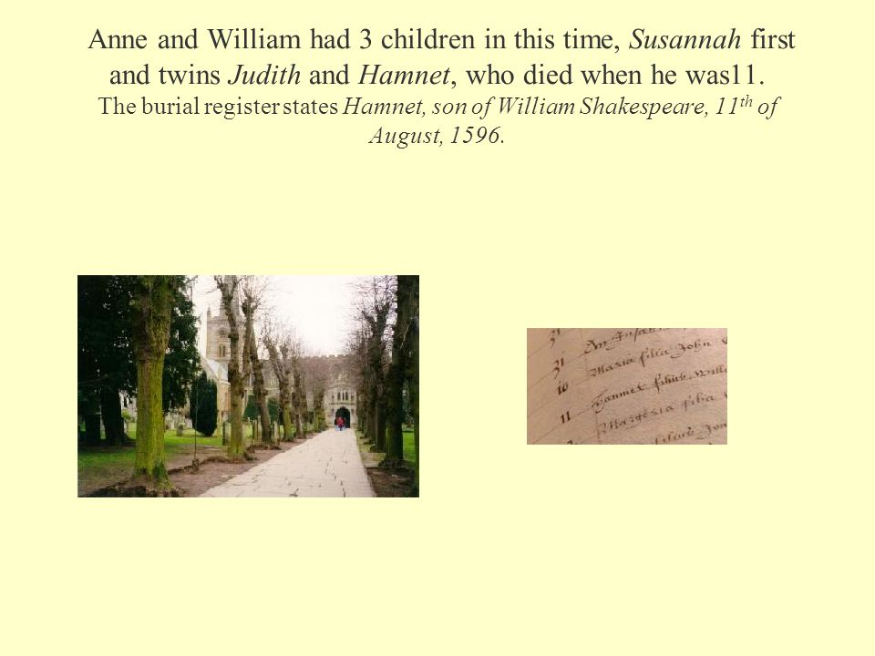 Anne and William had 3 children in this time, Susannah first and twins Judith and Hamnet, who died when he was11. The burial register states Hamnet, s