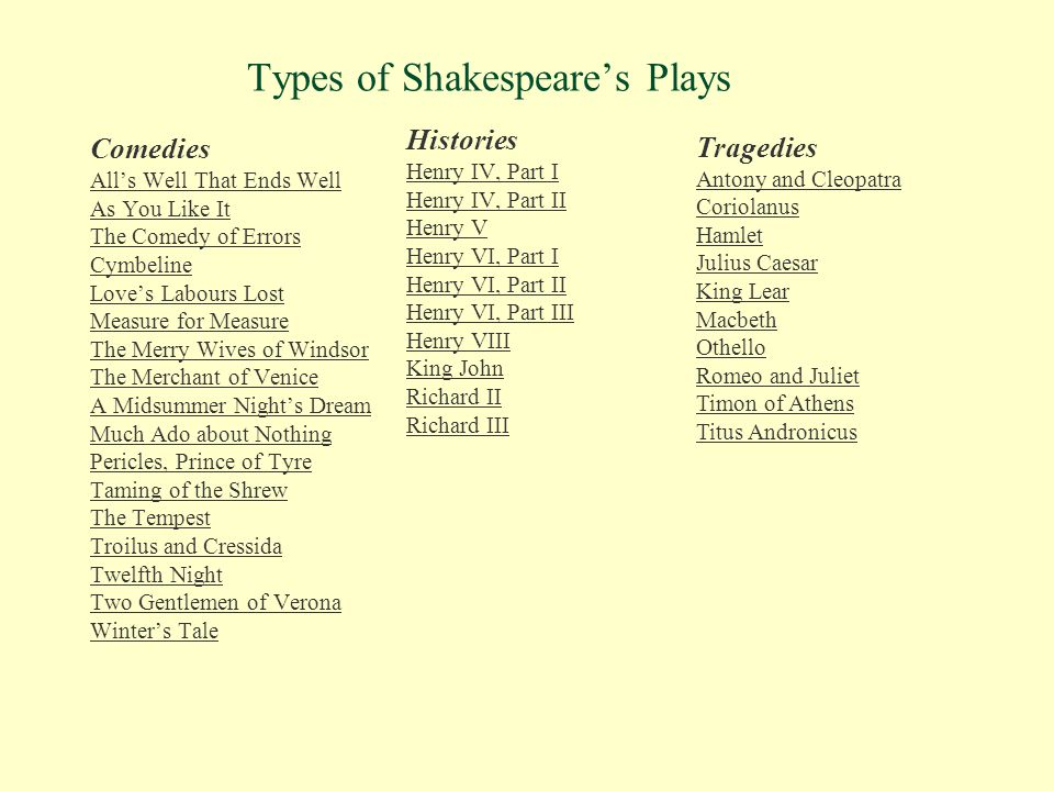 Types of Shakespeare's Plays Comedies All's Well That Ends Well As You Like It The Comedy of Errors Cymbeline Love's Labours Lost Measure for Measure
