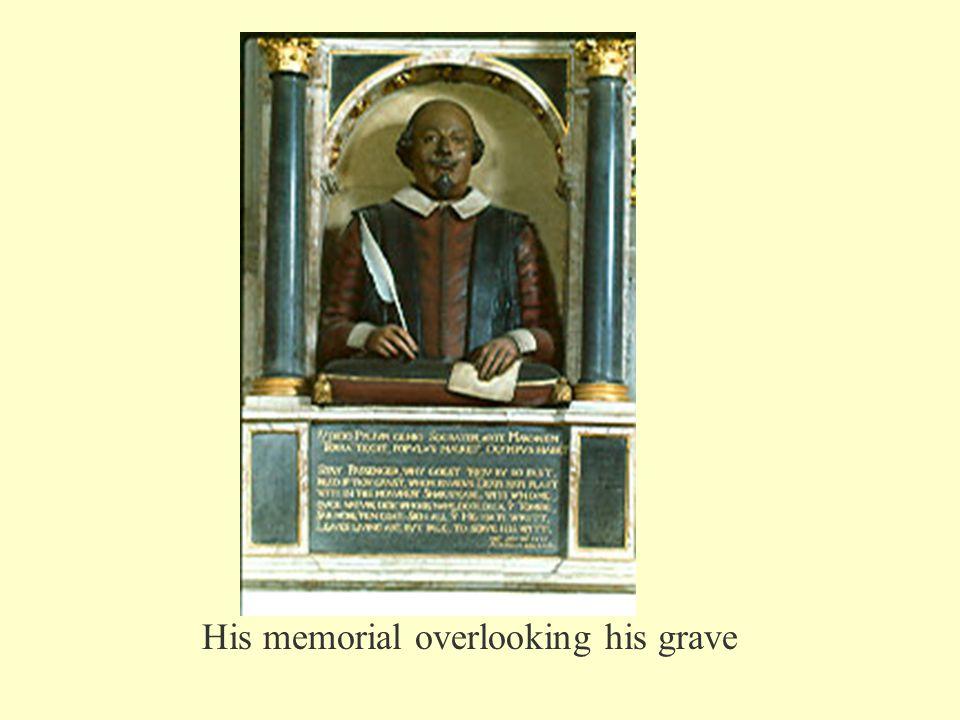 His memorial overlooking his grave