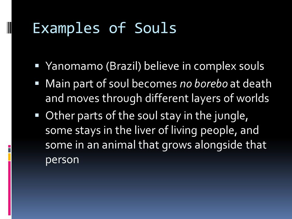 Examples of Souls  Hmong believe in different numbers of souls  The soul is connected to health  A soul can be frightened or stolen  How does the soul play a role in the novel?