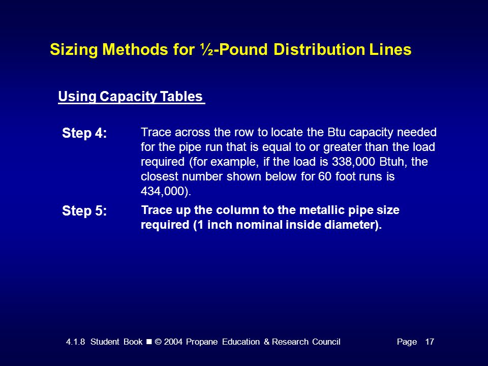 4.1.8 Student Book © 2004 Propane Education & Research CouncilPage 17 Sizing Methods for ½-Pound Distribution Lines Using Capacity Tables Step 4: Trace across the row to locate the Btu capacity needed for the pipe run that is equal to or greater than the load required (for example, if the load is 338,000 Btuh, the closest number shown below for 60 foot runs is 434,000).