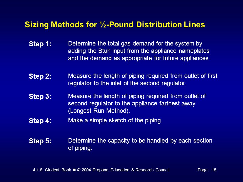4.1.8 Student Book © 2004 Propane Education & Research CouncilPage 18 Sizing Methods for ½-Pound Distribution Lines Step 1: Determine the total gas demand for the system by adding the Btuh input from the appliance nameplates and the demand as appropriate for future appliances.