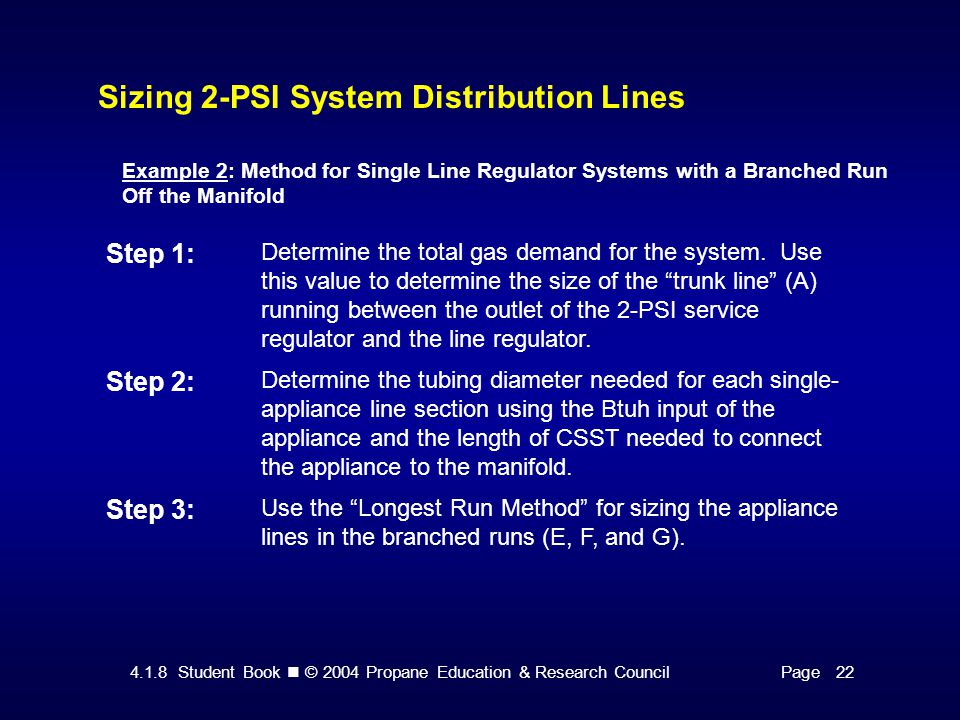 4.1.8 Student Book © 2004 Propane Education & Research CouncilPage 22 Sizing 2-PSI System Distribution Lines Example 2: Method for Single Line Regulator Systems with a Branched Run Off the Manifold Step 1: Determine the total gas demand for the system.