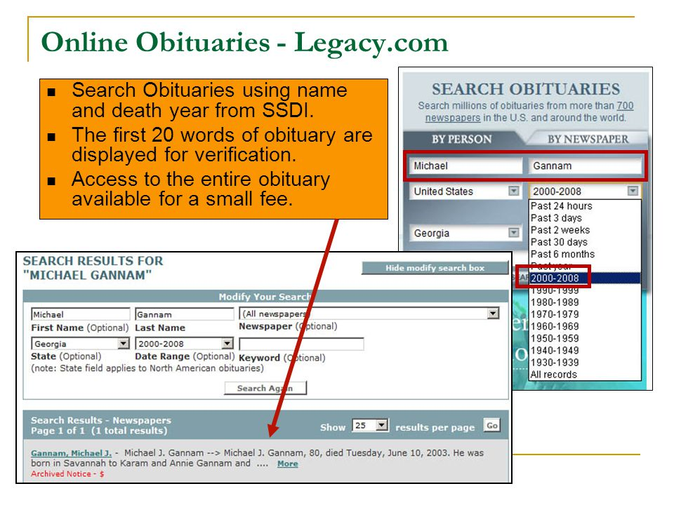 Online Obituaries - Legacy.com Search Obituaries using name and death year from SSDI.