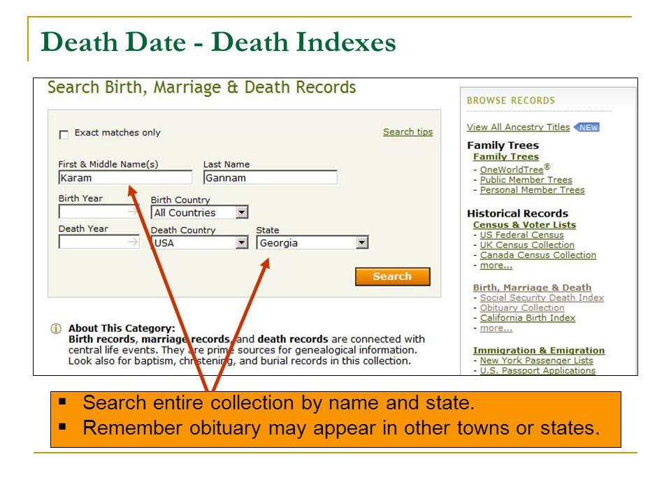 Death Date - Death Indexes  Search entire collection by name and state.