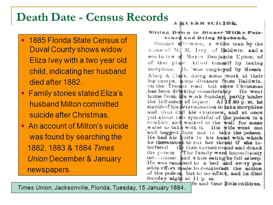  1885 Florida State Census of Duval County shows widow Eliza Ivey with a two year old child, indicating her husband died after 1882.