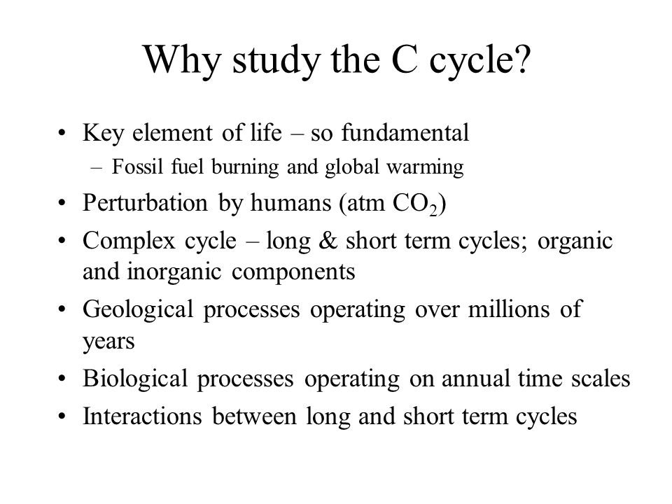 Why study the C cycle.
