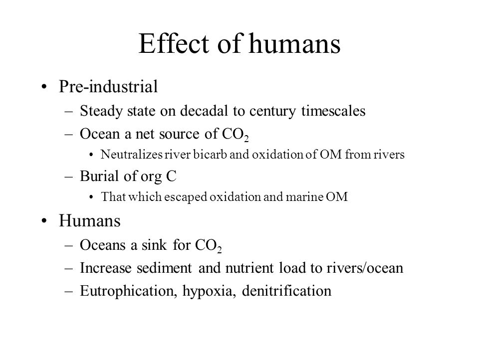 Effect of humans Pre-industrial –Steady state on decadal to century timescales –Ocean a net source of CO 2 Neutralizes river bicarb and oxidation of OM from rivers –Burial of org C That which escaped oxidation and marine OM Humans –Oceans a sink for CO 2 –Increase sediment and nutrient load to rivers/ocean –Eutrophication, hypoxia, denitrification