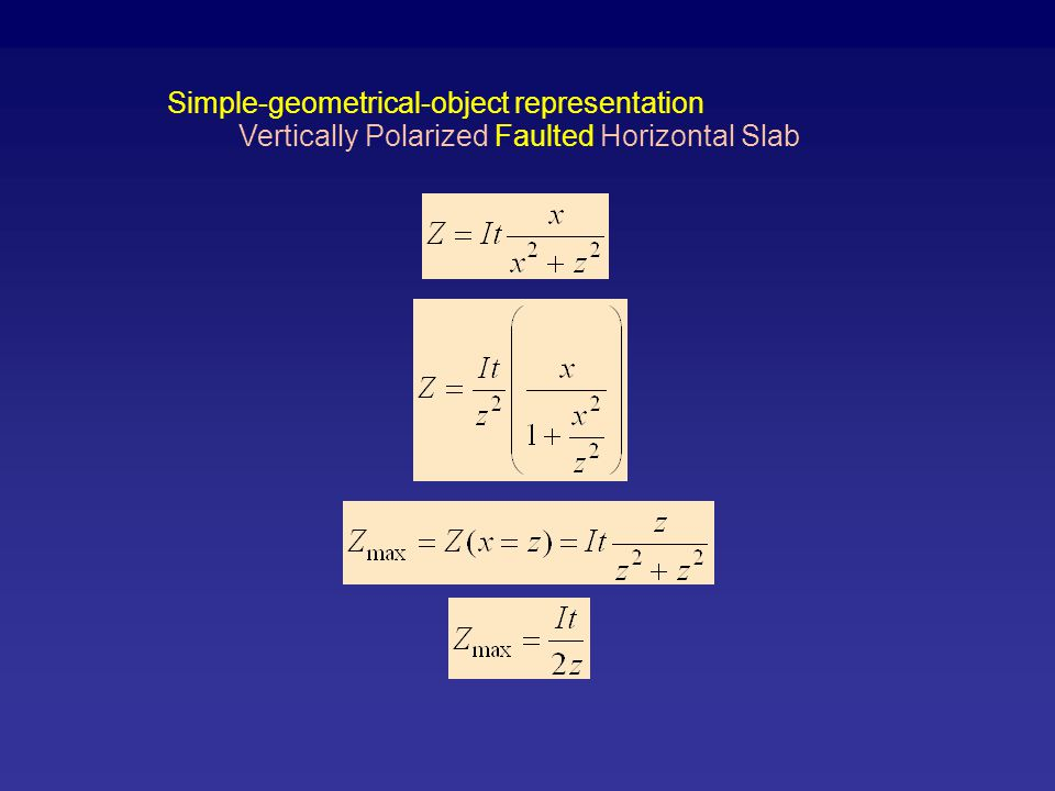 Vertically Polarized Faulted Horizontal Slab Simple-geometrical-object representation