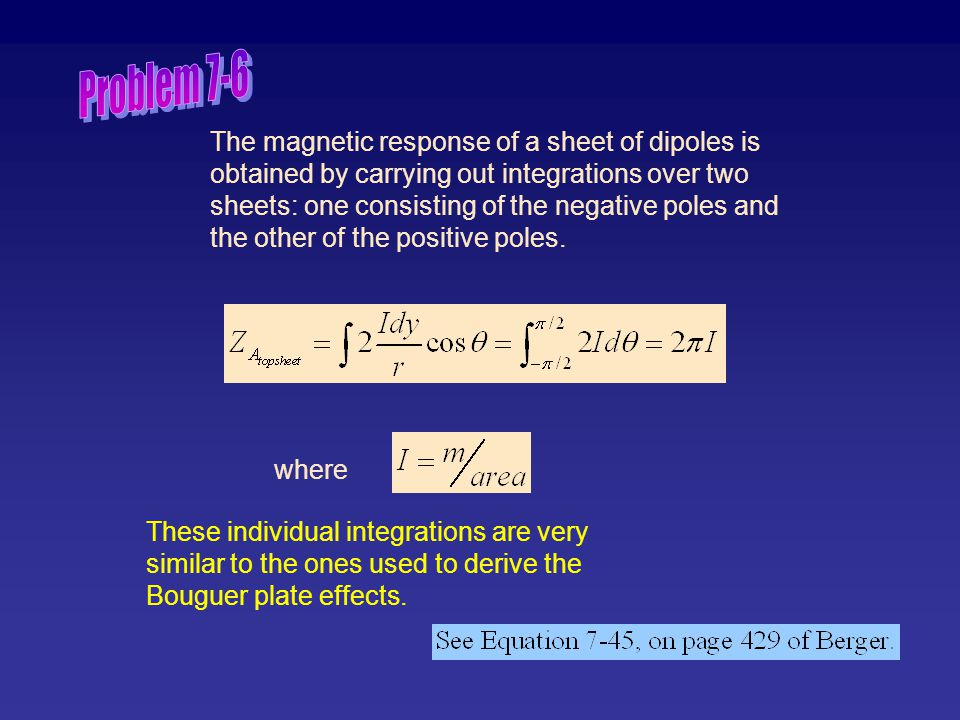 The magnetic response of a sheet of dipoles is obtained by carrying out integrations over two sheets: one consisting of the negative poles and the oth