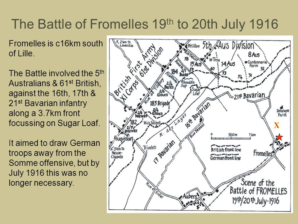The Battle of Fromelles 19 th to 20th July 1916 Fromelles is c16km south of Lille. The Battle involved the 5 th Australians & 61 st British, against t