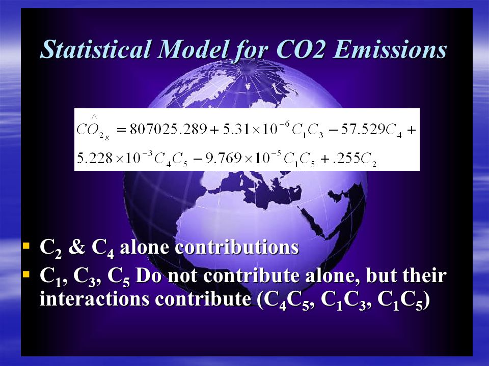 Statistical Model for CO2 Emissions  C 2 & C 4 alone contributions  C 1, C 3, C 5 Do not contribute alone, but their interactions contribute (C 4 C 5, C 1 C 3, C 1 C 5 )