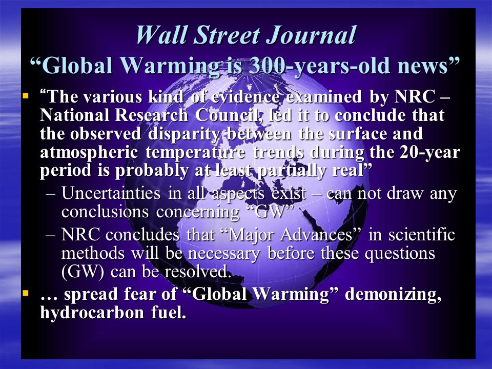 Do We Understand the Problem of Global Warming. Zero Legal Legislative Policies: Why.