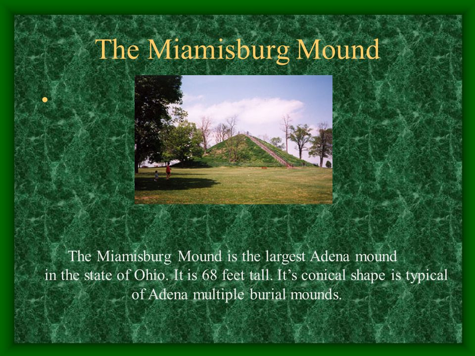 Adena Mounds Adena Mounds are large and conical in shape. They were always used as burial mounds. They always contain multiple interments. The largest