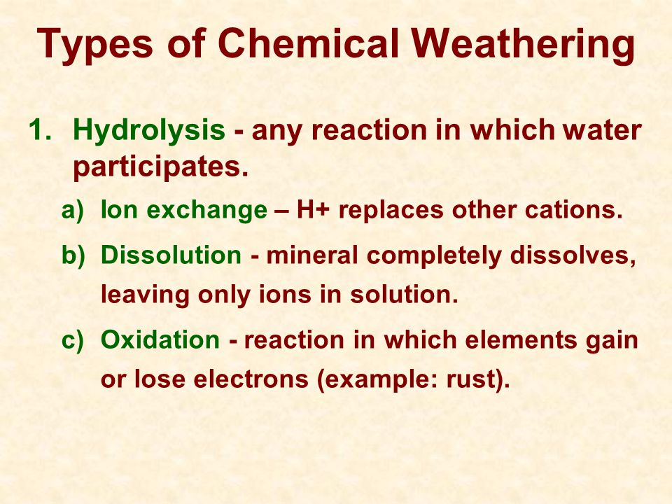 Types of Chemical Weathering 1.Hydrolysis - any reaction in which water participates.