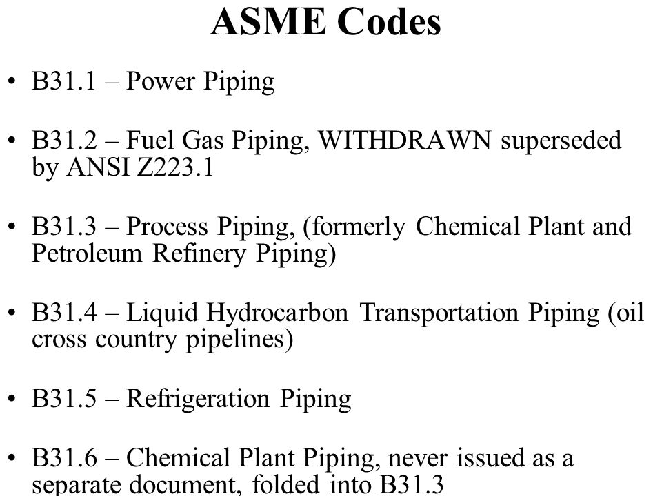 ASME Codes B31.1 – Power Piping B31.2 – Fuel Gas Piping, WITHDRAWN superseded by ANSI Z223.1 B31.3 – Process Piping, (formerly Chemical Plant and Petroleum Refinery Piping) B31.4 – Liquid Hydrocarbon Transportation Piping (oil cross country pipelines) B31.5 – Refrigeration Piping B31.6 – Chemical Plant Piping, never issued as a separate document, folded into B31.3